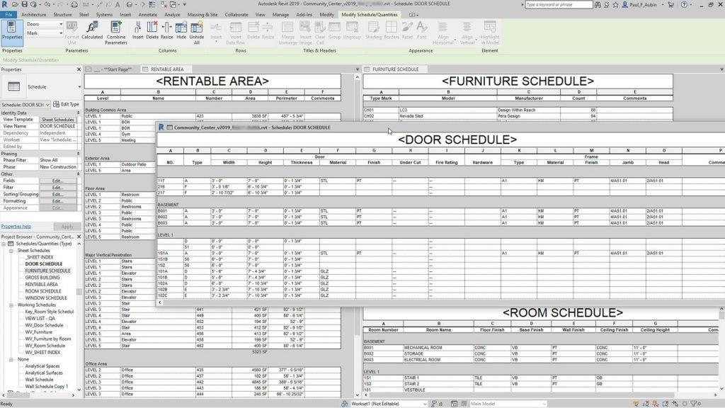 Design Consulting Revit Schedules