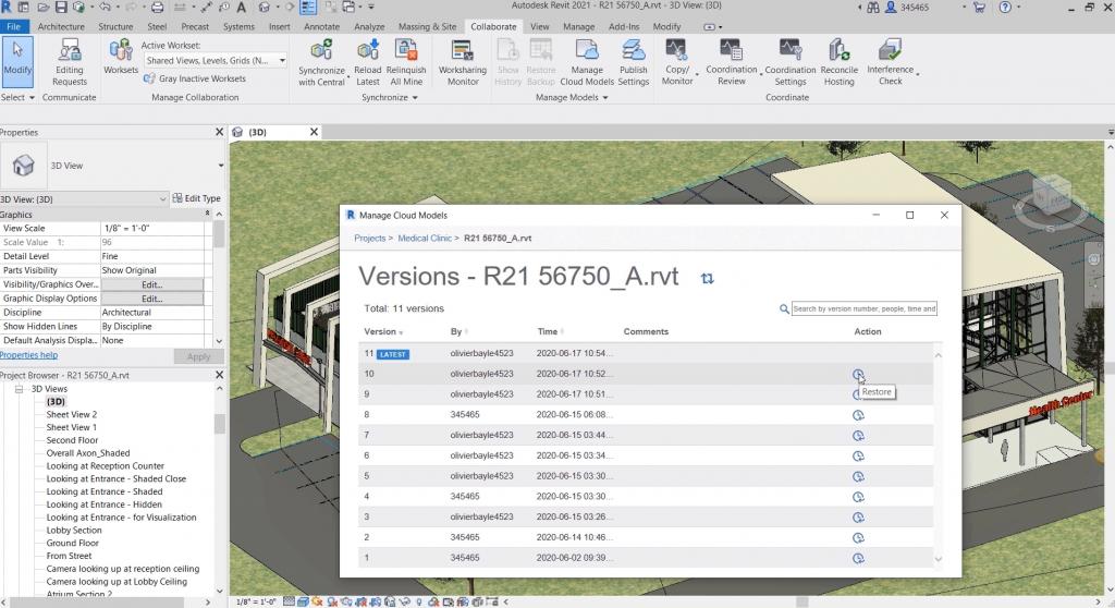 Autodesk BIM 360 design and Revit synch to cloud